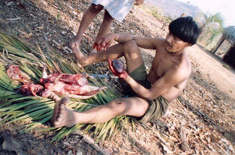 Foto: Iawí com tatu, T.I. Avá-Canoeiro, 2003. Cristhian Teófilo da Silva, 2003.