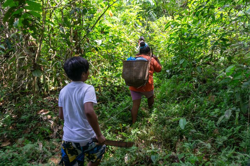 ''Dâw tuuw'' (Port.: caminhos dos dâw). Mãe e filho andando em caminhos antigos para chegar no igarapé Bukaar Pêeg – local de moradia dos antigos Dâw. Foto: Karolin Obert, 2017.