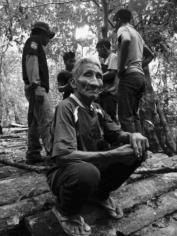 Em primeiro plano, o ancião Tatajkamaha (já falecido), e ao fundo os jovens Guardiões da Floresta na TI Awá, 2016. Foto: Uirá Garcia