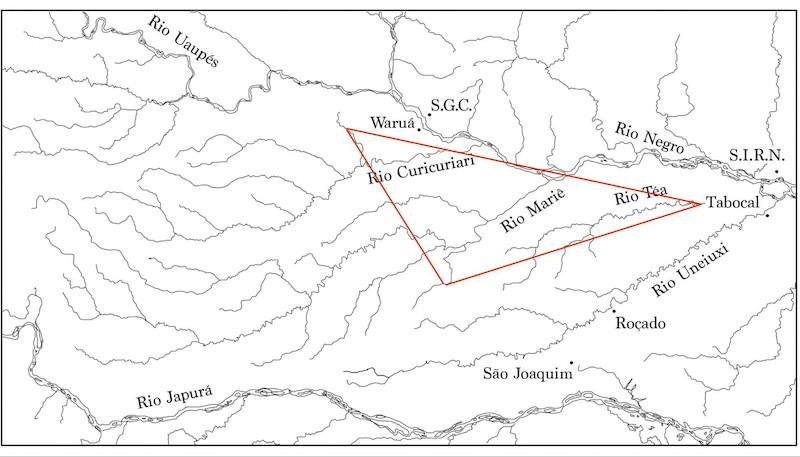 Mapa 2: Suposta região de migração do povo Dâw