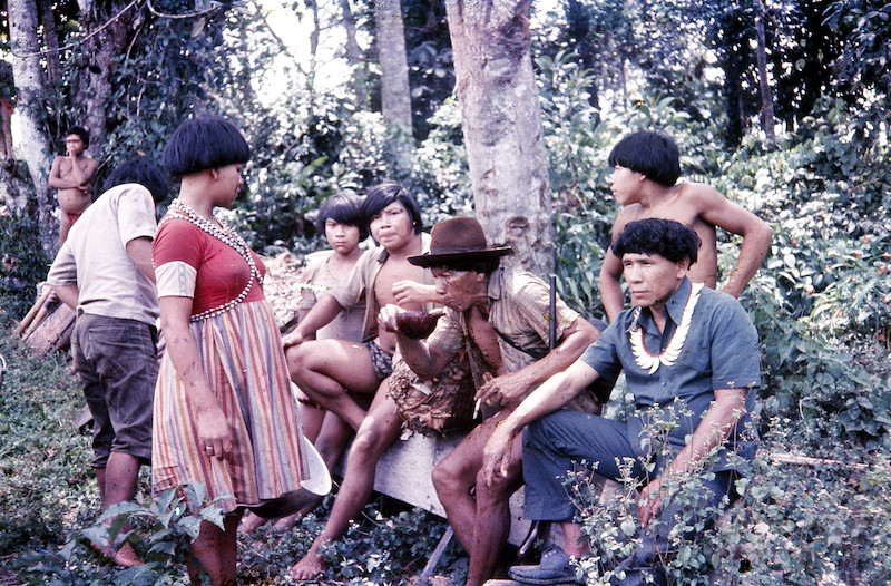 Mulher oferta chibé a duas importantes lideranças ye'kwana, Sostenes da Silva e Albertino Gimenes. Fuduuwaadunnha. TI Yanomami, Roraima. Alcida Ramos, 1974.