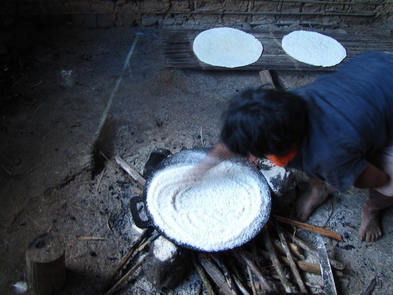 Preparo diário do beiju. Tajädedatonnha. TI Yanomami, Roraima. Majoí Gongora, 2013.