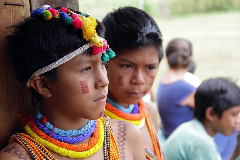 Meninos adornados na comunidade Fuduuwaadunnha, TI Yanomami. José Cury, 2017.